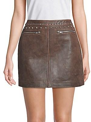Veda Buzz Studded Leather Mini Skirt