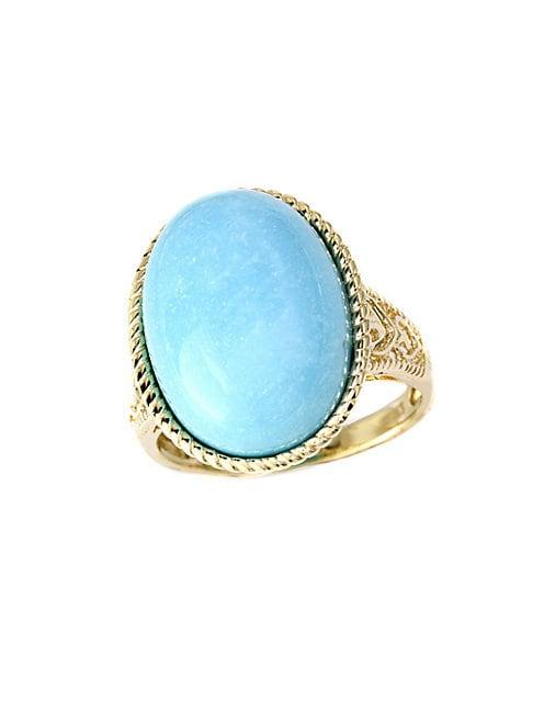 Effy Turquesa 14k Yellow Gold And Turquoise Oval Ring