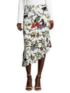 Tibi Printed Silk Skirt