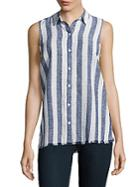 Beach Lunch Lounge Sleeveless Striped Shirt