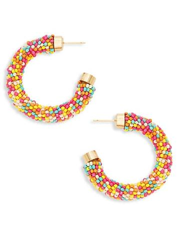 Ava & Aiden Goldtone Seed Bead Hoop Earrings
