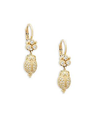 Temple St. Clair Diamond And 18k Yellow Gold Scarab Earrings