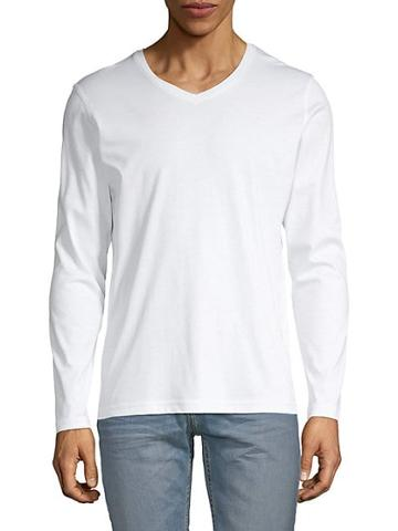 Saks Fifth Avenue Aqua V-neck Long Sleeve T-shirt