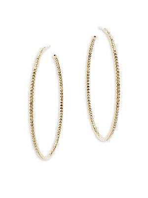 Roberto Coin Tiny Treasure 18k Yellow Gold Hoop Earrings- 2.25in