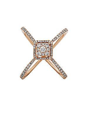 Diana M Jewels Diamond And 14k Rose Gold Fashion Ring