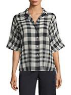 Theory Ralfinn Plaid Cotton Shirt