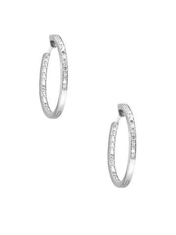 Diana M Jewels 14k White Gold & Diamond Huggie Earrings
