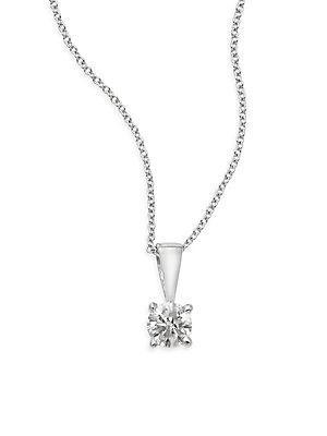 Effy 0.25 Tcw Diamond & 18k White Gold Solitaire Pendant Necklace