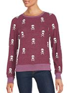 Wildfox Outlaw Scull Printed Long Sleeve Pullover