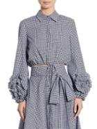 Alexis Margaret Cropped Gingham Cotton Top