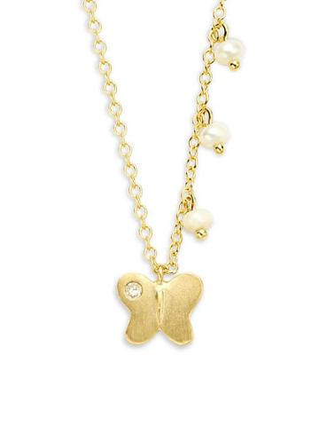 Meira T 14k Yellow Gold 2mm Freshwater Pearl Butterfly Charm Necklace