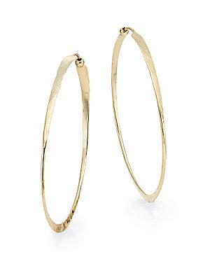 Saks Fifth Avenue 14k Yellow Gold Oval Hammered Twist Hoop Earrings/2