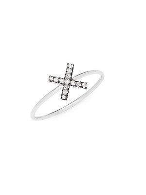 Suzanne Kalan Champagne Diamond And 14k White Gold X Ring