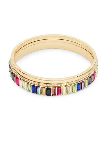 Ava & Aiden Goldtone Multi-color Gemstone Stackable Bangle Bracelet