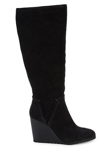 Splendid Patience Knee-high Suede Wedge Boots