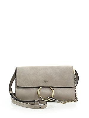 Chlo Faye Small Suede & Leather Shoulder Bag