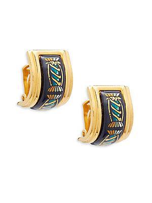 Herm S Vintage Navy/gold Candy Enamel Earrings