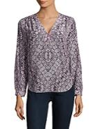 Rebecca Taylor Long-sleeve Printed Silk Top