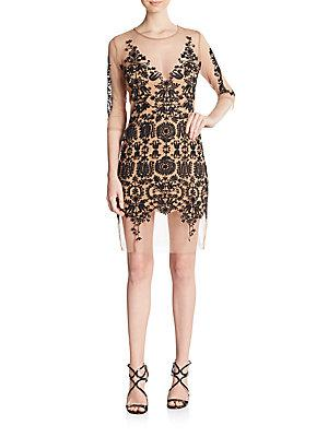 For Love And Lemons Lotus Embroidered Illusion Mesh Sheath Dress