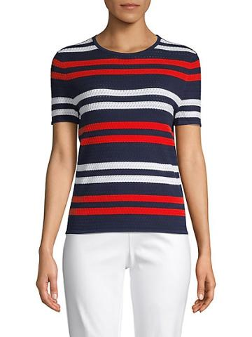 Saks Fifth Avenue Striped Cotton Blend Top