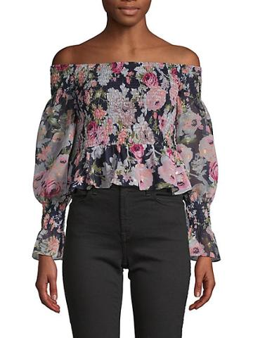 Renvy Shirred Floral Off-the-shoulder Top