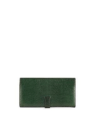 Herm S Vintage Green Lizard Bearn Wallet