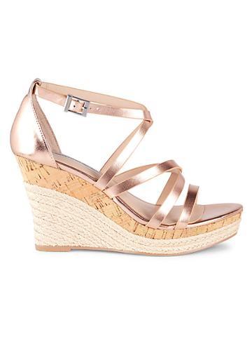 Saks Fifth Avenue Metallic Espadrille Platform Wedge Sandals