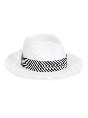 Saks Fifth Avenue Striped Band Floppy Hat