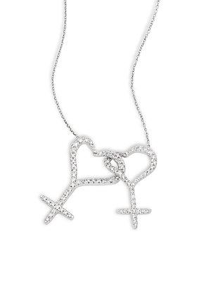 Roberto Coin Wedded Me Diamond & 18k White Gold Pendant Necklace