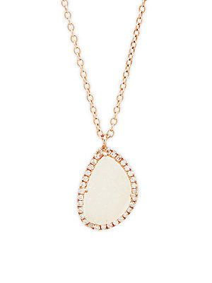 Meira T Crystal And 14k Rose Gold Pendant Necklace