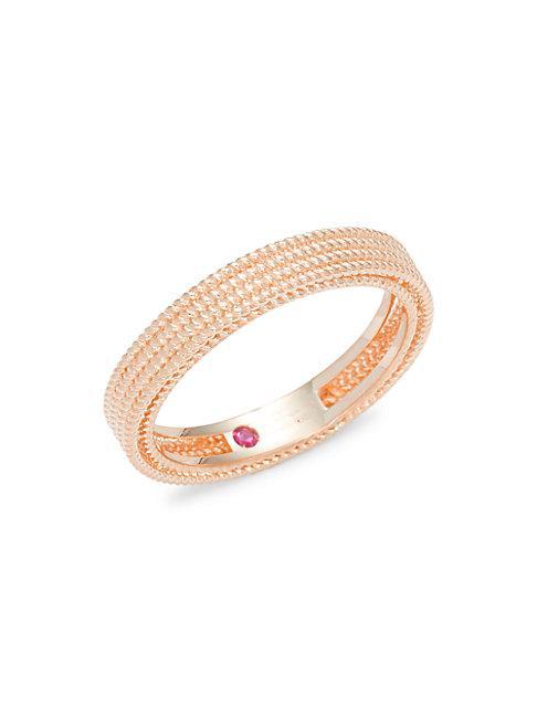Roberto Coin 18k Rose Gold & Ruby Ring