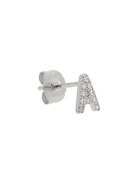Nephora Initial Single 14k White Gold Diamond Stud Earring