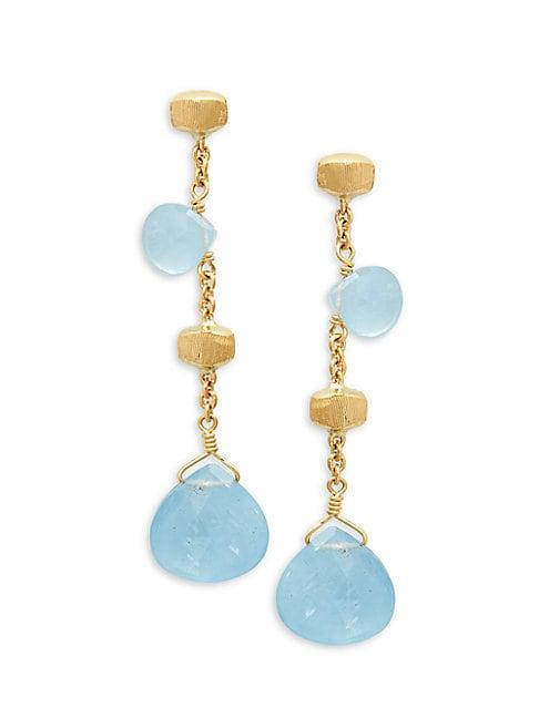 Marco Bicego Paradise 18k Yellow Gold & Aquamarine Drop Earrings