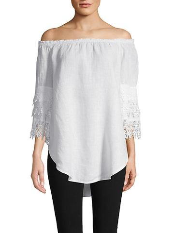 Saks Fifth Avenue Lace-trimmed Linen Top