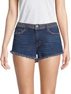 L'agence Zoe Studded Denim Shorts