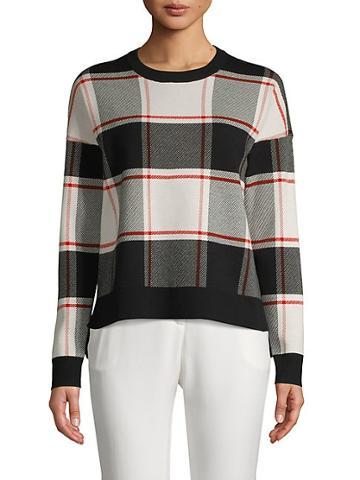 Saks Fifth Avenue Plaid Cotton Blend Sweatshirt