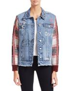 Scripted Distressed Plaid Denim Jacket