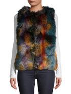 Laundry By Shelli Segal Multi-color Faux-fur Vest