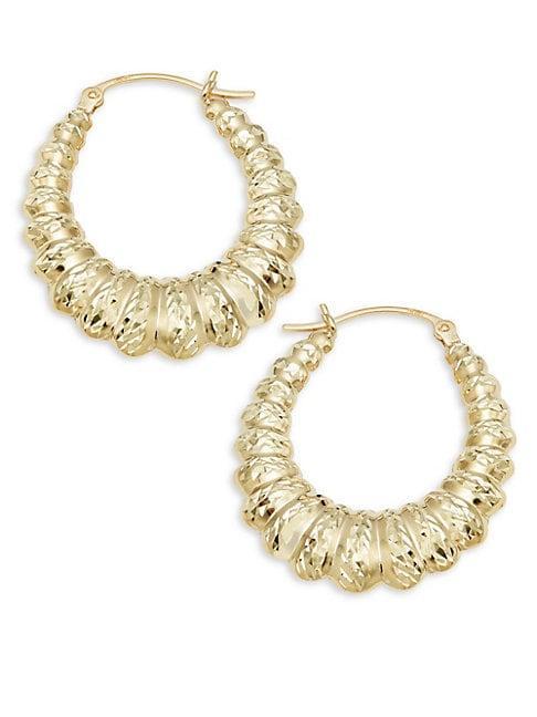 Saks Fifth Avenue 14k Gold Oval Shrimp Hoop Earrings
