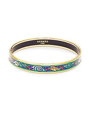 Herm S Vintage Green/g Shell Enamel Narrow Bracelet