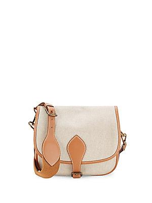 Herm S Vintage Brown Small Toile Crossbody Bag