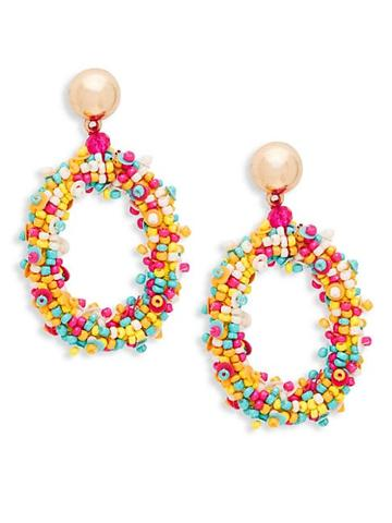 Ava & Aiden Goldtone & Seed Bead Oval Drop Earrings