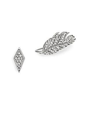 Rebecca Minkoff Feather & Geometric Stud Earring Set/silvertone