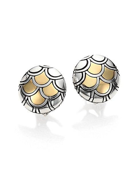 John Hardy Legends Naga 18k Yellow Gold & Sterling Silver Button Earrings