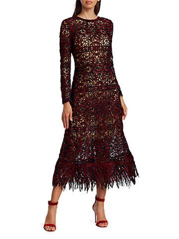 Oscar De La Renta Sequin Crochet A-line Midi Dress