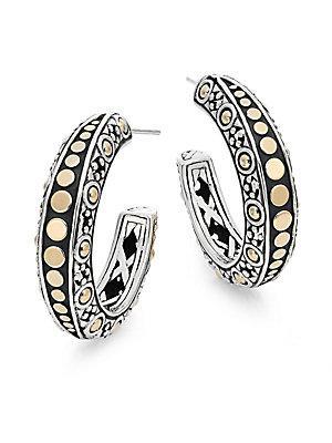 John Hardy Dot 18k Yellow Gold & Sterling Silver Gypsy Hoop Earrings