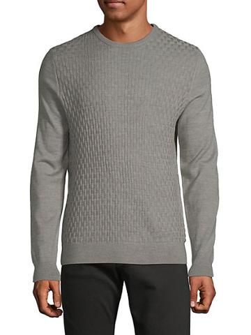 Pure Navy Basket Weave Heathered Sweater
