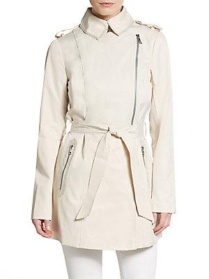 Sam Edelman Asymmetrical Zip Cotton Trench Coat