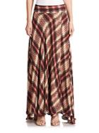 Haute Hippie Chevron Plaid Silk Maxi Skirt