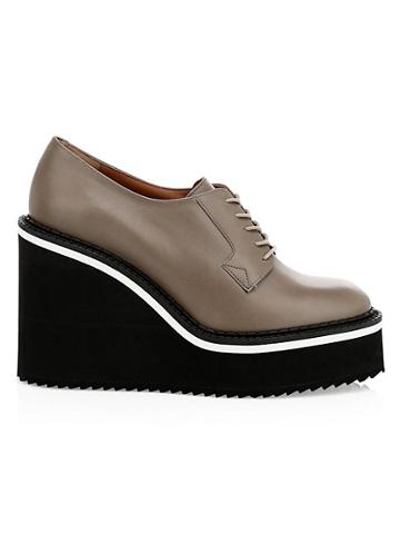 Clergerie Brio Leather Wedge Oxfords